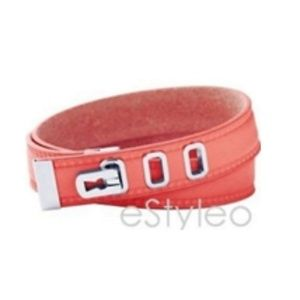 Fossil Brand Leather Wrap Bracelet Coral Pink